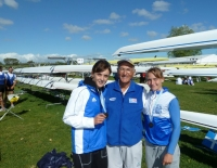 World distinction for Greece Top Rowing crew and leading coach :: The winners are Alexandra Tsiavou and Christina Giazitzidou with Gianni Prostiglione